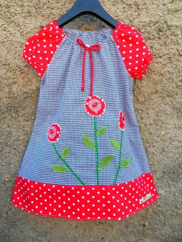 Buntes Blumen Mädchen-Kleid Kleid Tunika Bluse Karo Marienkäfer