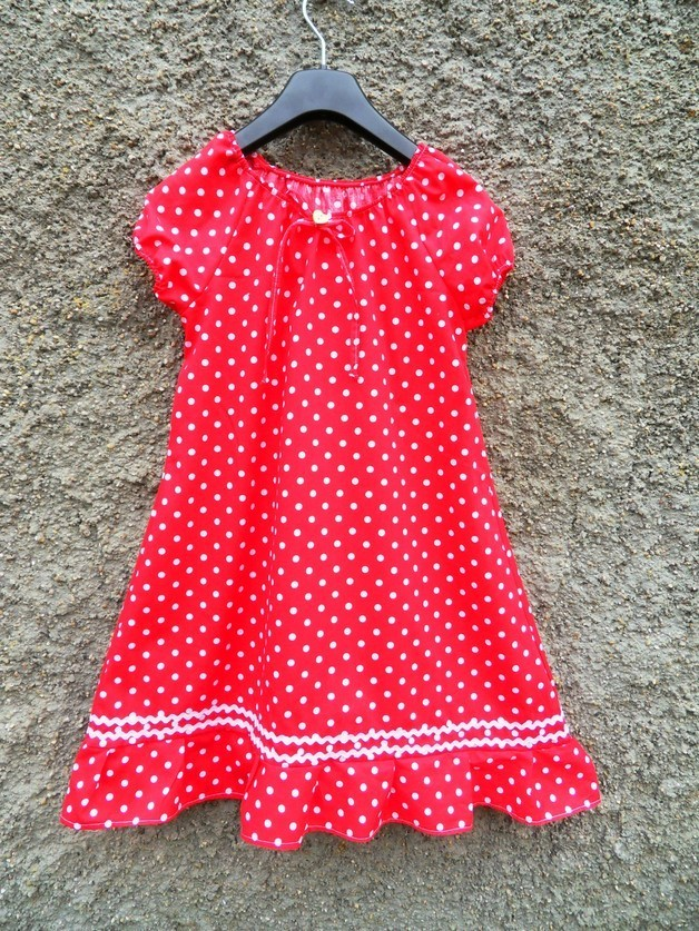 34d803b93c5 Rotes Mädchen Punkte Kleid Tunika Bluse Mädchenkleid Baumwolle