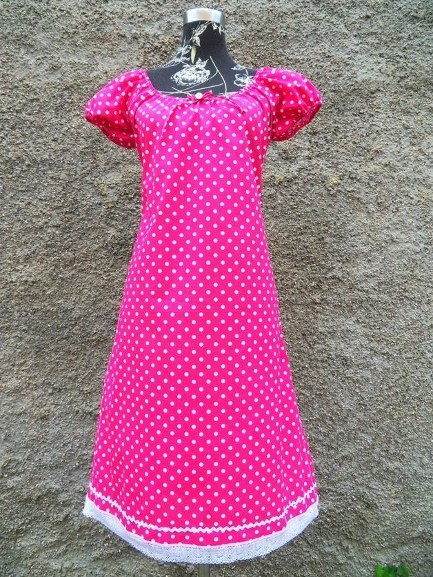 Pinkes Kleid mit Punkten Sommerkleid mit Punkten ...
