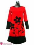 Rotes Blumen Langarmkleid Fleece