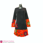 Walkloden Blumen Langarmkleid Schwarz Orange