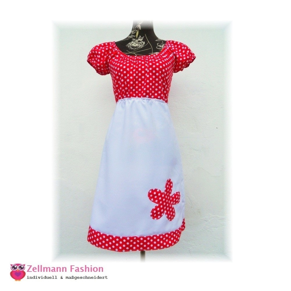 save off c7cc4 85527 Rot weißes Punkte Kleid mit Blumen appliziert