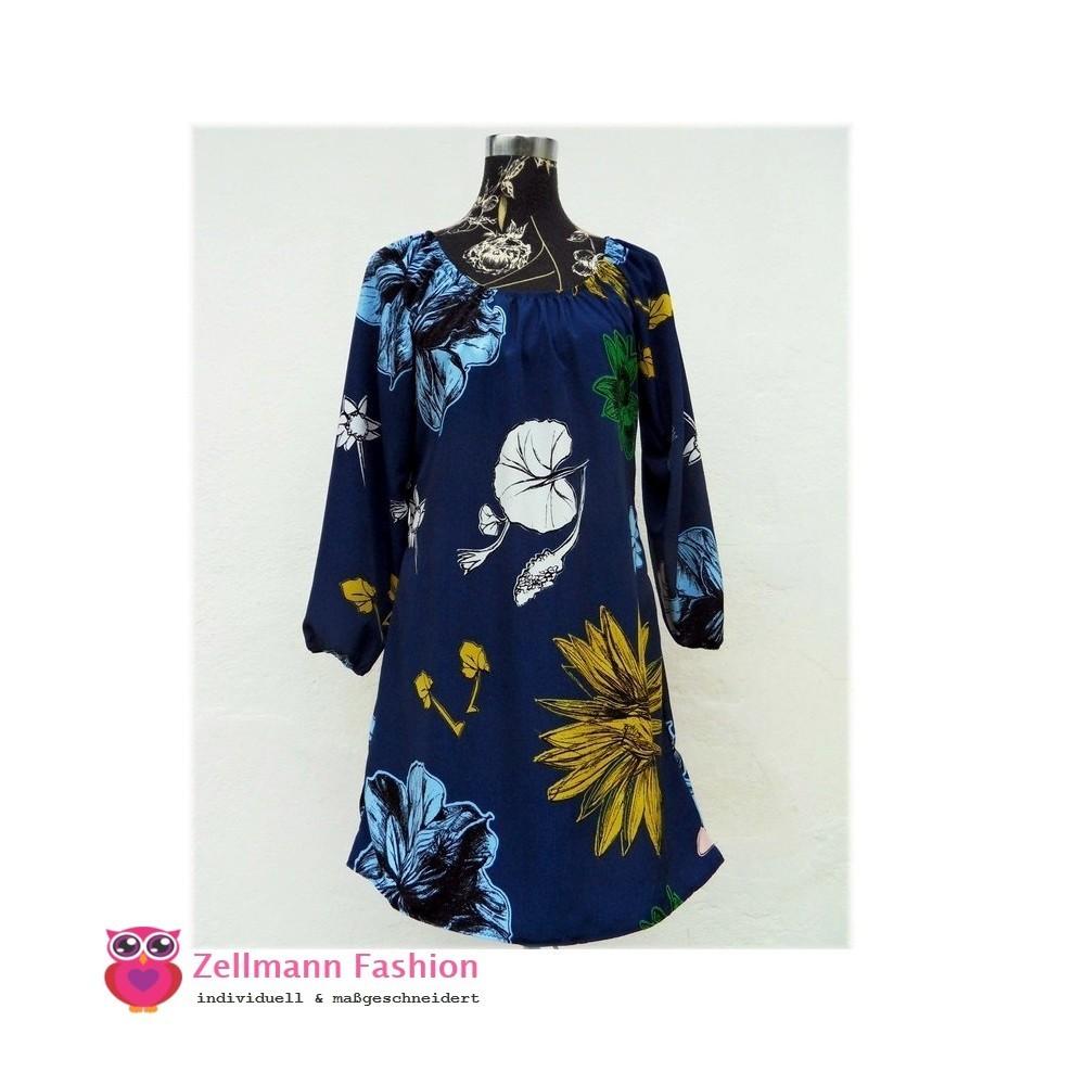 Edlers Blaues Blumen Allover Javanaise Kleid Massgeschndeidert